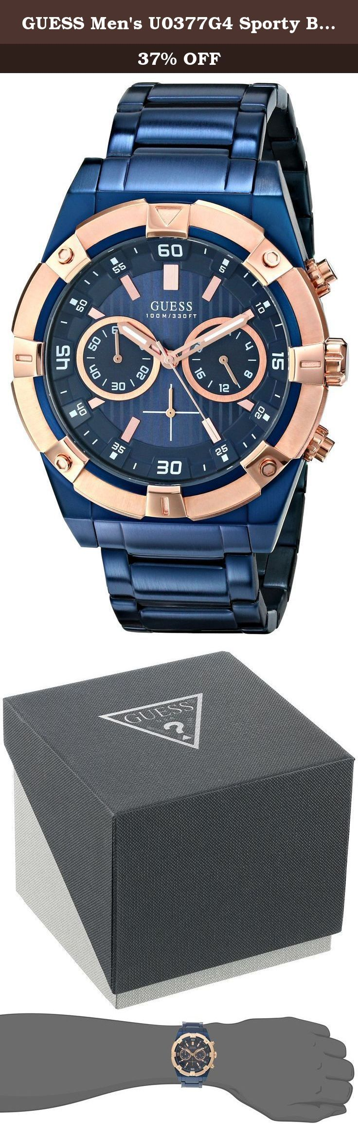 GUESS Men's U0377G4 Sporty Blue Stainless Steel Multi-Function Watch with Chronograph Dial and Deployment Buckle. Define your time with a stylish Men's GUESS Watch that's Perfect for Women too! Japanese Quartz Movement Case diameter: 44 mm Chronograph Watch with Date to keep help you keep track of the days Durable mineral crystal protects watch from scratches Water resistant to 330 feet (100 M) 24 hour Intl time.