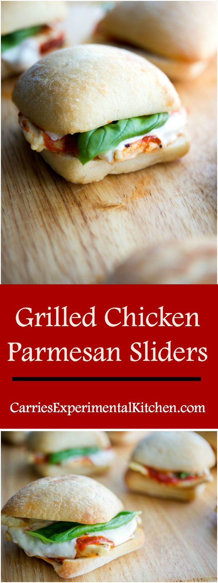 Grilled Chicken Parmesan Sliders | CarriesExperimentalKitchen.com  These Grilled Chicken Parmesan Sliders take only 20 minutes to make and are much healthier than the classic sandwich.