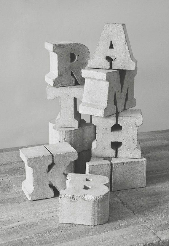 Handmade concrete letters - 10.5cm high x 7cm deep