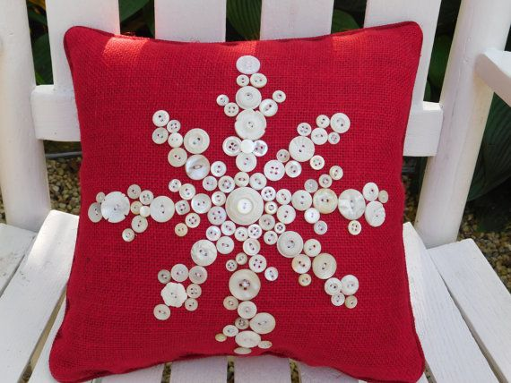 Snowflake Pillow Red Burlap Pillow Holiday by BerkshireCollections