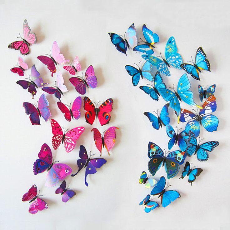 Envío Gratis 12 unids/lote 3d refrigerador de la mariposa pegatinas refrigerador imanes decoración del hogar decorativo Decoración de La Habitación