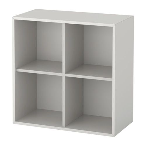 IKEA - EKET, Cabinet with 4 compartments, light gray, , A simple unit can be enough storage for a limited space or the foundation for a larger storage solution if your needs change.You can choose to place the cabinet on the floor or mount it on the wall to free up floor space.Assembly is quick and easy, thanks to the wedge dowel that clicks into the pre-drilled holes.