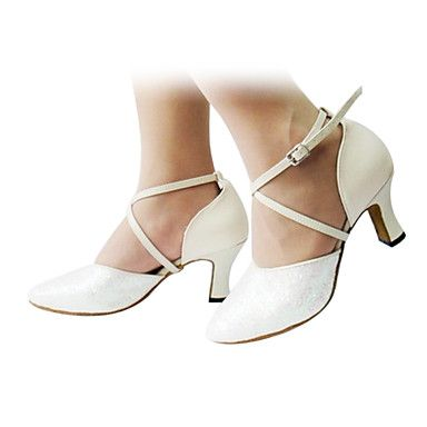 Customized Women's Leather Flared Heel With Buckle Dance Shoes Latin Ballroom Heels – AUD $ 36.38