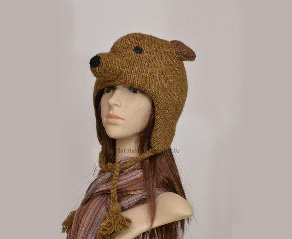 Brown bear animal hat   warm hat  knit hat  by HatsMittensEtc