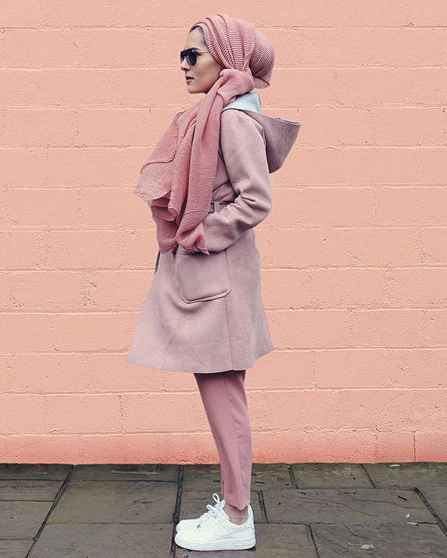 Dina Tokio. Love the textured hijab and the coat