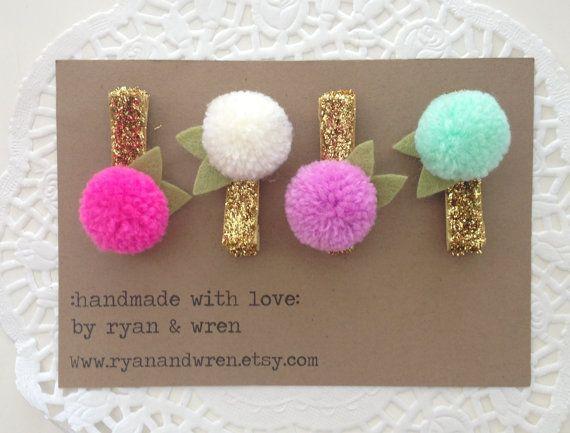 Mini yarn pom pom clips choose two by ryanandwren on Etsy