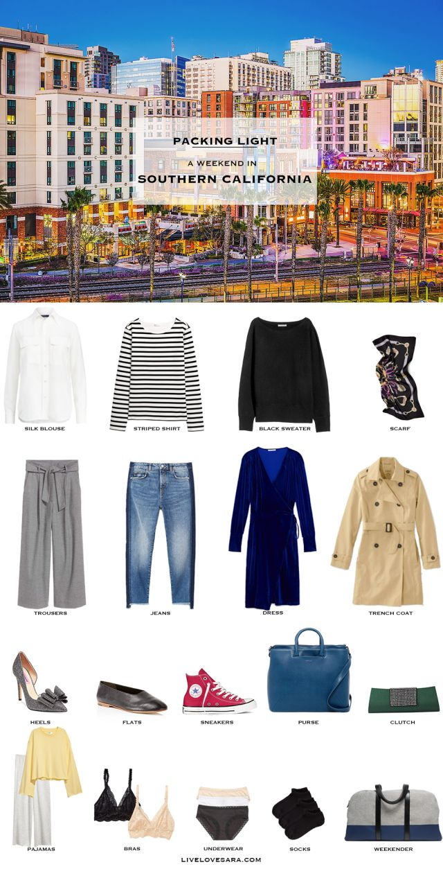 What to Pack for a weekend in Southern California Packing Light List | What to Pack for southern california | Packing Light | Packing List | Travel Light | Travel Wardrobe | Travel Capsule | Capsule | Capsule Wardrobe | Travel | Travel tips | What to Pack | California | Livelovesara