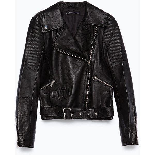 Zara Leather Jacket ($189) ❤ liked on Polyvore featuring outerwear, jackets, coats & jackets, coats, leather, tops, black, real leather jacket, lined leather jacket and zara jacket