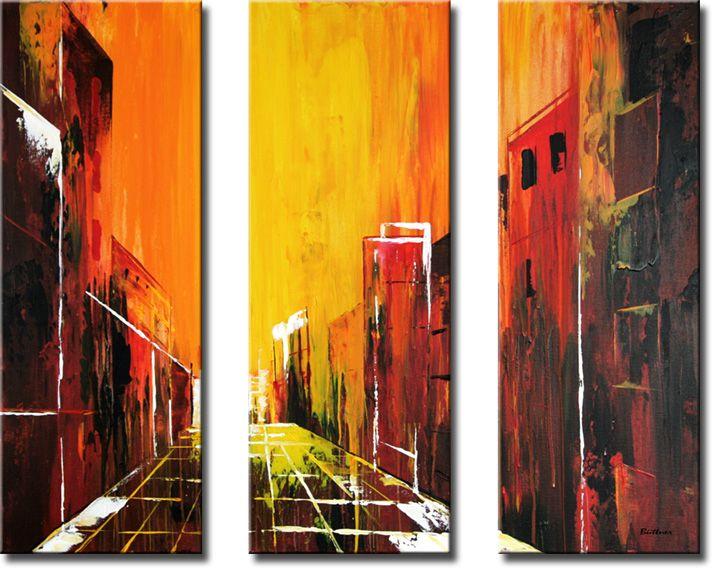 Schilderij City Heat, drieluik van Buttner - Kunstvoorjou.nl