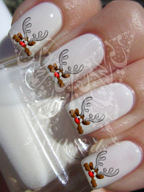 Christmas Xmas Cute Hiding Reindeer Christmas Nail Art Water Decals Nail Transfers Wraps