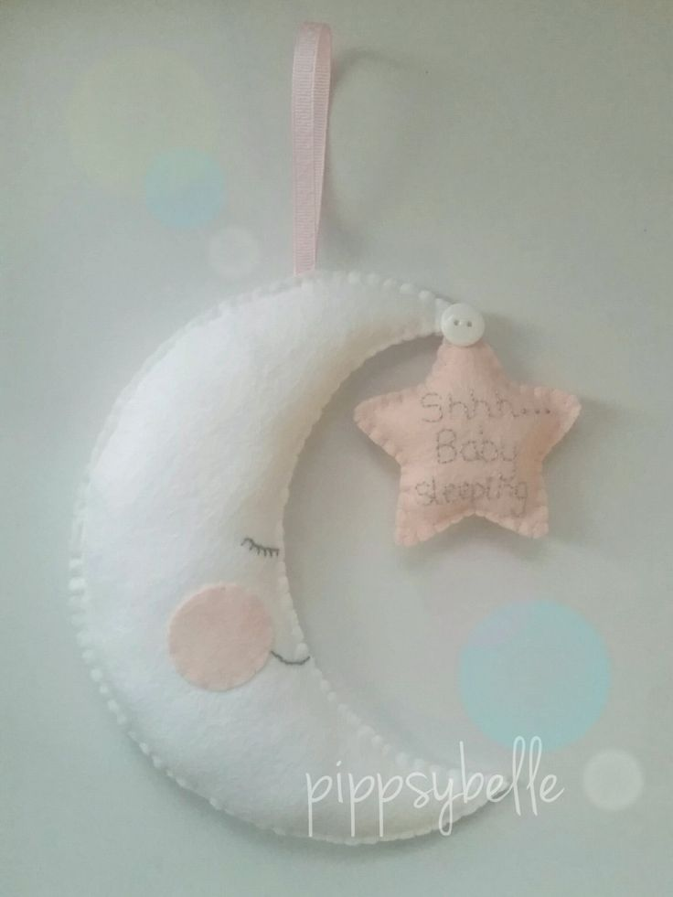 Baby sleeping sign. Felt hanging moon and star. New baby gift. baby sign. shhh baby sleeping door hanger. Baby shower gift. Baby girl gift by Pippsybelle on Etsy