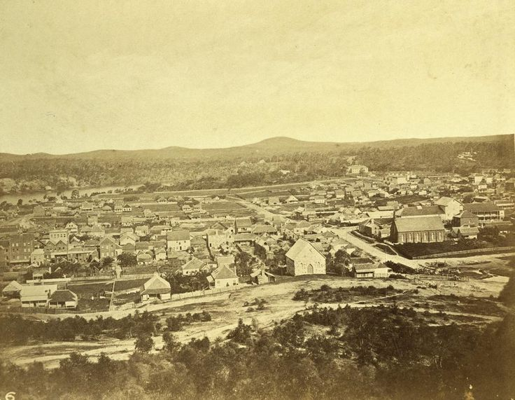 Early panoramic view of Brisbane, 1862