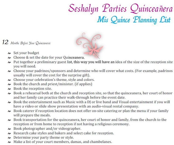 quinceanera planning timeline guide party ideas by seshalyn