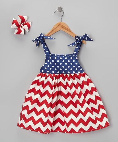Toddler 4th of July Dress.  Red Chevron with Blue and White Polka Dots!