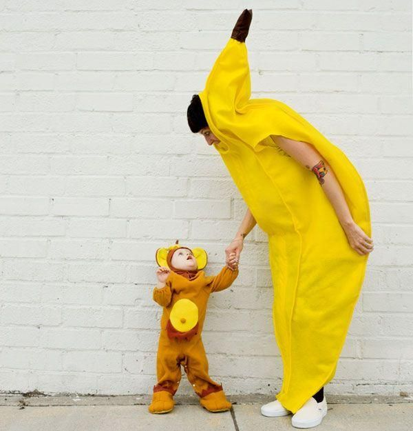 Cute baby monkey and banana costumes.