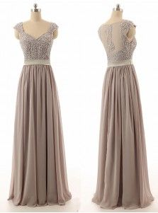 Hot Selling Sweetheart Floor Length Chiffon Grey Bridesmaid Dress With Beading