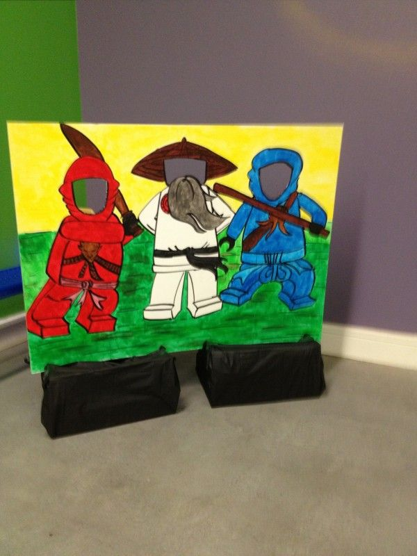 Ninjago photo booth--Ninja Kai (red), Sensei Wu and Ninja Jay (blue)