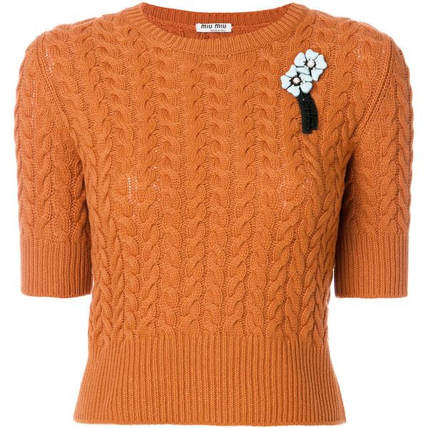Miu Miu short-sleeve brooch jumper ($1,200) ❤ liked on Polyvore featuring tops, sweaters, orange, short sleeve jumper, short sleeve sweater, jumpers sweaters, orange top and orange jumper