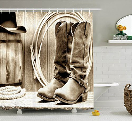 Western Shower Curtain By Ambesonne, Traditional Rodeo Supplies With Roper  Boots In Vintage Colors Nostalgic