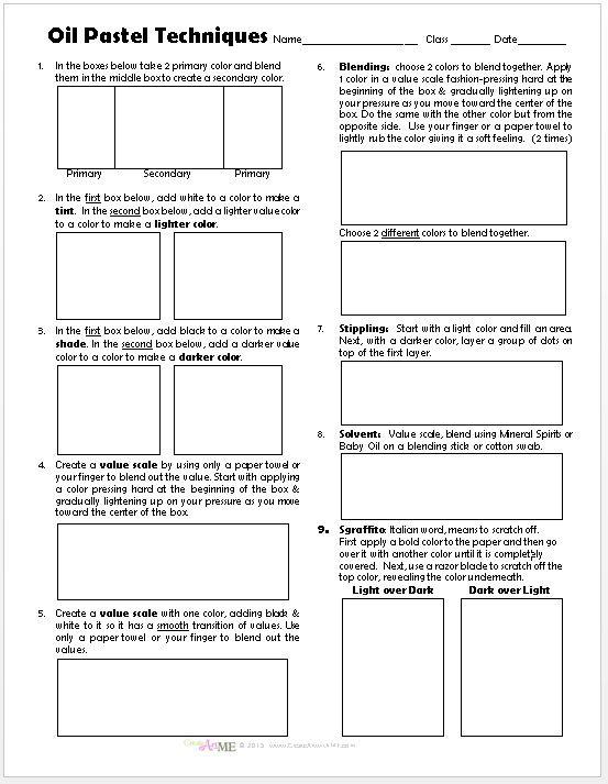 Oil Pastel Techniques Worksheet2015