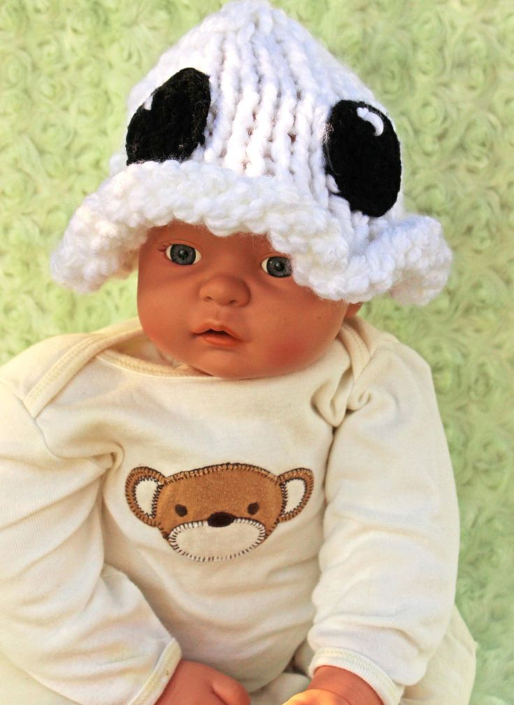 Hand knit baby hat - Ghost hat makes an easy infant Halloween costume - Baby Ghost costume - Baby's first Halloween by KnitaBitofWhimsy on Etsy