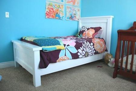 DIY twin bedThe White, Diy Furniture, Girls Room, Farmhouse Beds, Diy Twin, Twin Beds, Farmhouse Style, Twin Farmhouse, Diy Projects