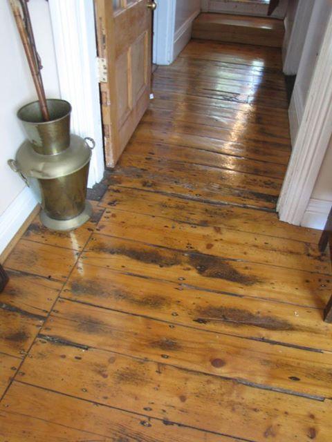 Exposed wooden floorboards in the living room.