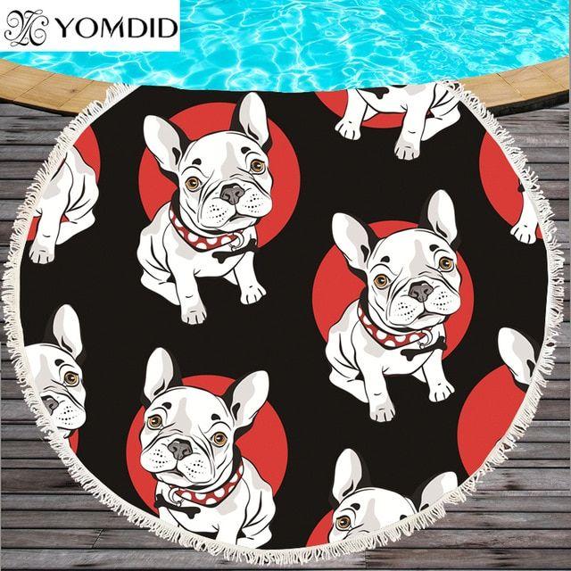 Bulldog Round Beach Towel Dog Printed Beach Towels Serviette De