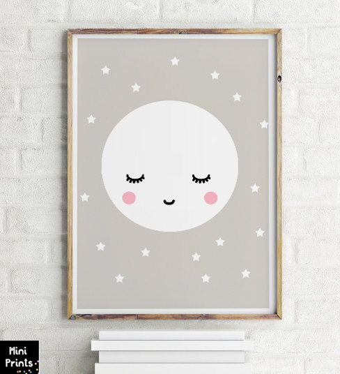 SALE Sleepy Eyes Scandinavian Nursery Print sleepy moon print children's art, nursery print, nursery art, baby room, kids room Print moon B