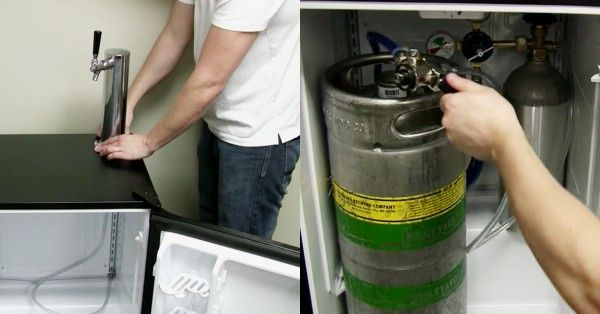 A fridge for serving cold beer on tap at home is an easy DIY project.