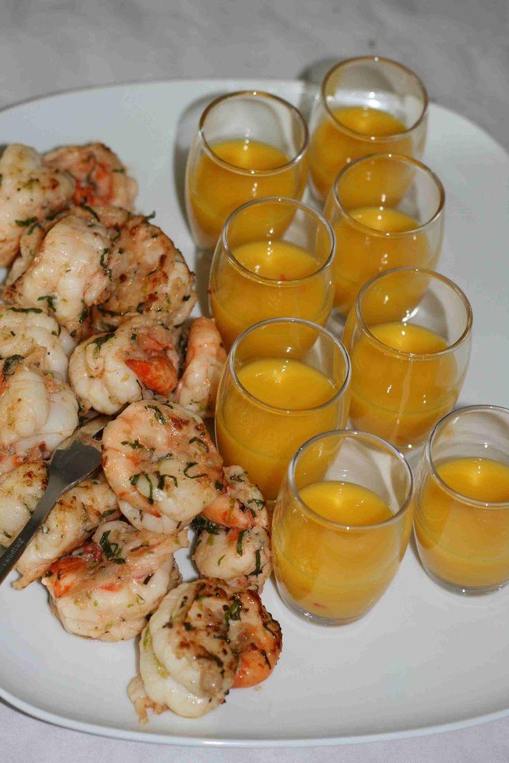 bushcooks kitchen: Bürogarten-Sommerfest: Marinierte Garnelen mit Mango-Dip