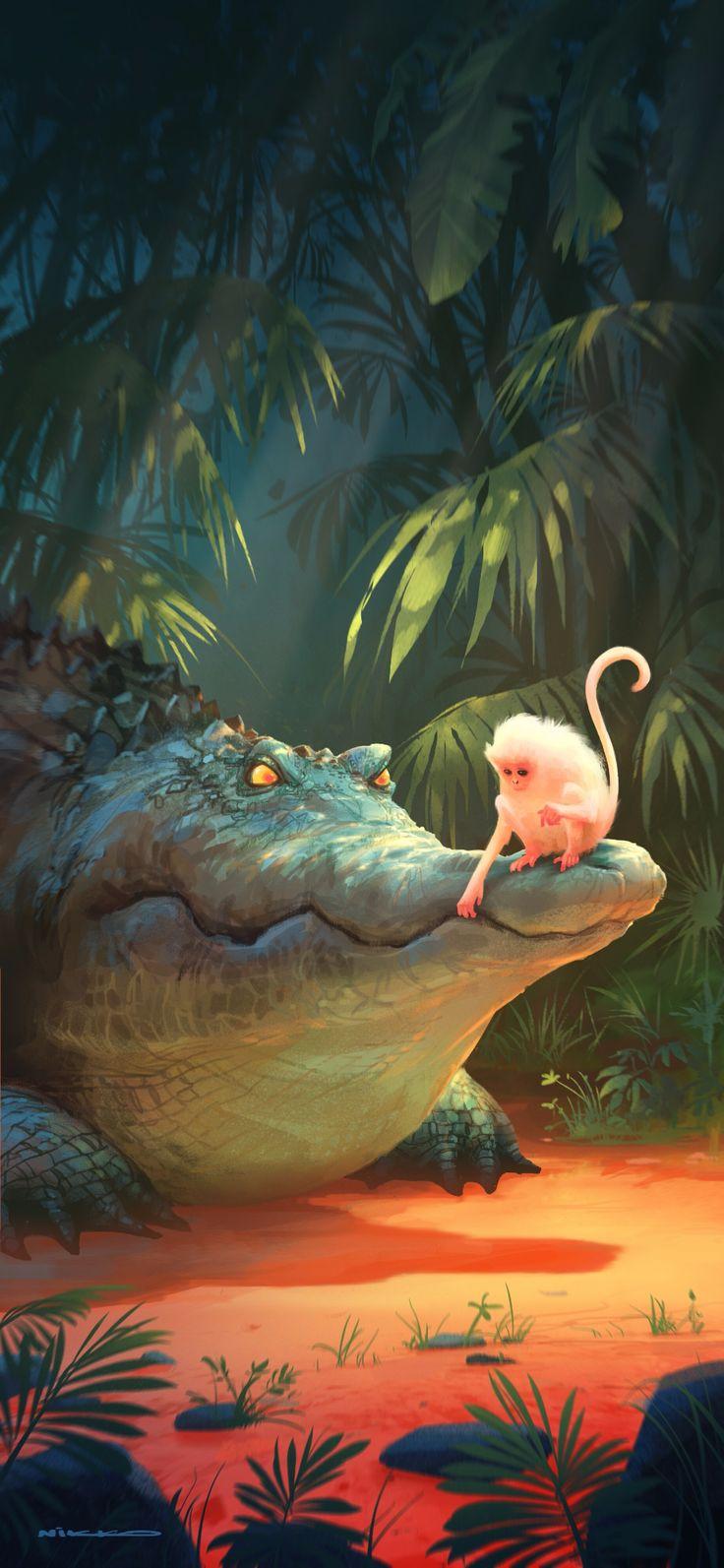 ArtStation Monkey n Croc, Nikolai Lockertsen (With images)