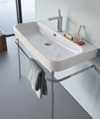 Lavabo de porcelana con pedestal sencillo Happy D.2 de Duravit Colección de baño de finas esquinas redondeadas Happy D.2 diseño de Sieger Design para Duravit http://www.sanchezpla.es/bano-de-finas-esquinas-redondeadas-happy-d-2-de-duravit/