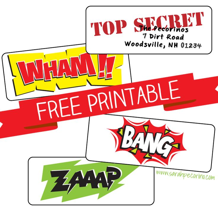 Printable Superhero labels.  ZAAAP, WHAM, BANG and editable TOP SECRET label for standard adhesive address labels from your office supply store.
