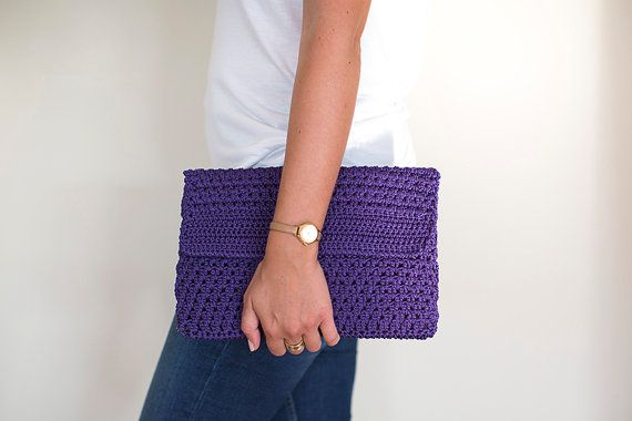 Crochet Clutch, Crochet Handbag, Crochet Bag, Crochet Purse, Purple Handbag