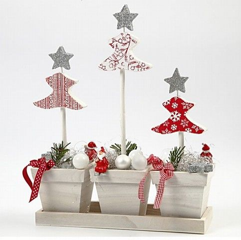 Flower Pots with Christmas Decorations