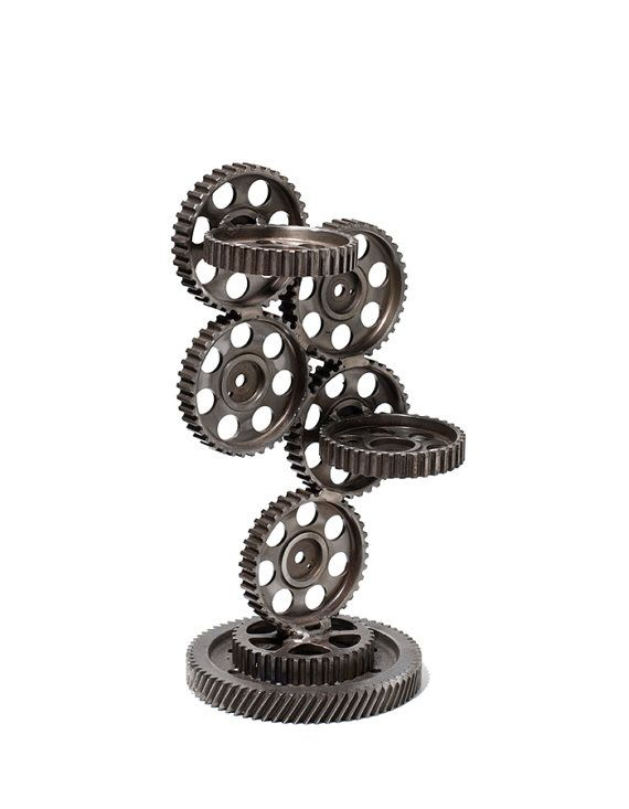Modern stand made of pulleys cogs Flowerpot holder by RECONrenewed