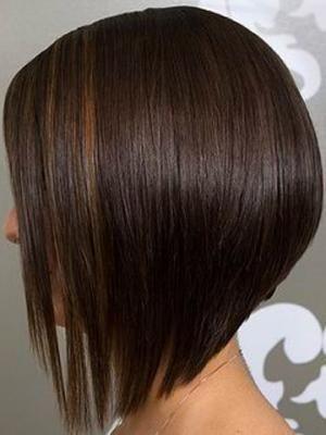 Shoulder Length Angled Bob | Medium length angled bob haircut with side swept bangs 2