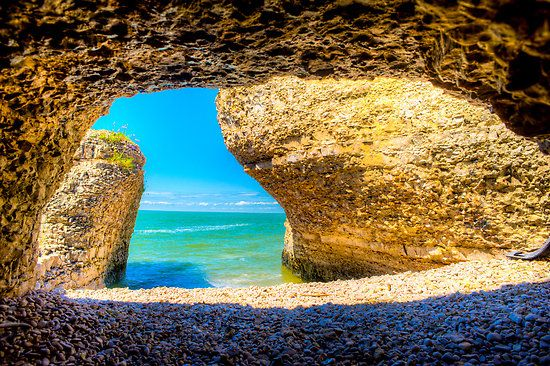 Steep Rock Manitoba Limestone Cave with Azure sky #2 by solalta
