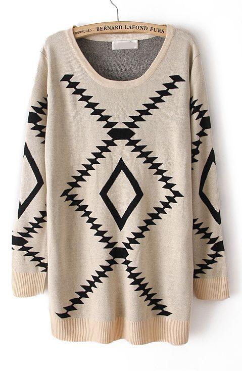Beige Long Sleeve Geometric Pattern Pullover Sweater - Sheinside.com
