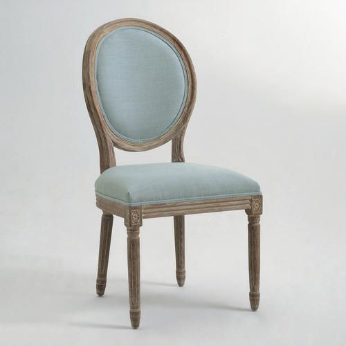 One of my favorite discoveries at WorldMarket.com: Blue Linen Paige Round Back Dining Chairs, Set of 2