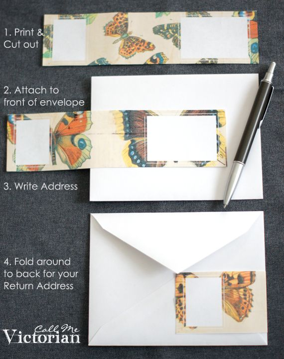 free printable  gorgeous wrap around butterfly mailing labels - these are great when you want to recycle envelopes