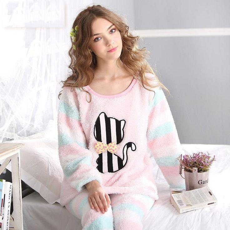 plus size adult flannel winter warm pajamas set for girl Cat Cartoon Cute Coral Fleece Nightwear clothes for women Pyjamas femme
