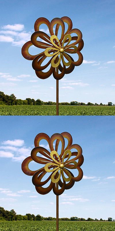 Windmills and Wind Spinners 115772: Large 2Ft Kinetic Wind Sculpture Art Dual Spinner Metal Large Outdoor Pinwheel -> BUY IT NOW ONLY: $80.67 on eBay!