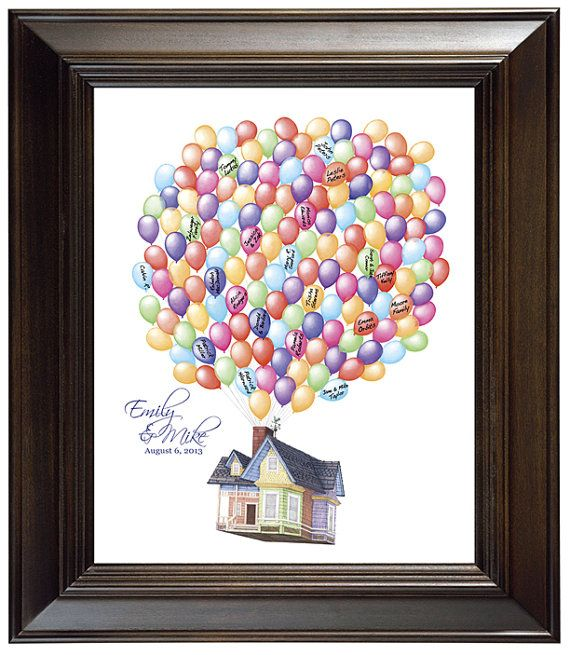 Wedding Guest Book Alternative Custom Guestbook Alternative Disney Pixar UP House Adventure Guest Book Movie Up Flying House w Balloons