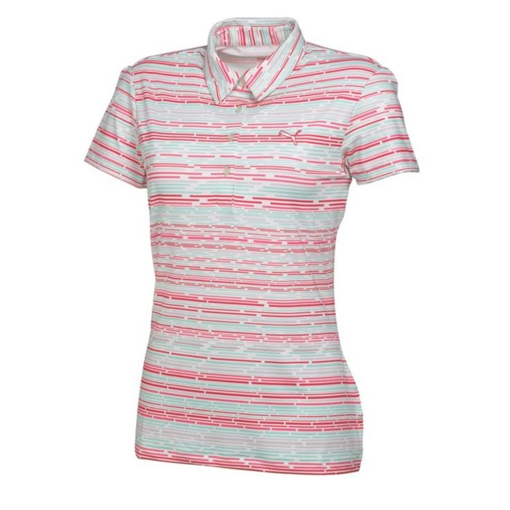 Puma Roadmap Womens Golf Polo White Camellia Rose Cabage