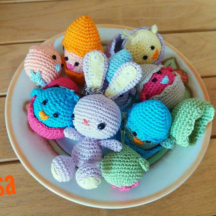 Il mio coniglietto amigurumi e i suoi amici pulcini 😊