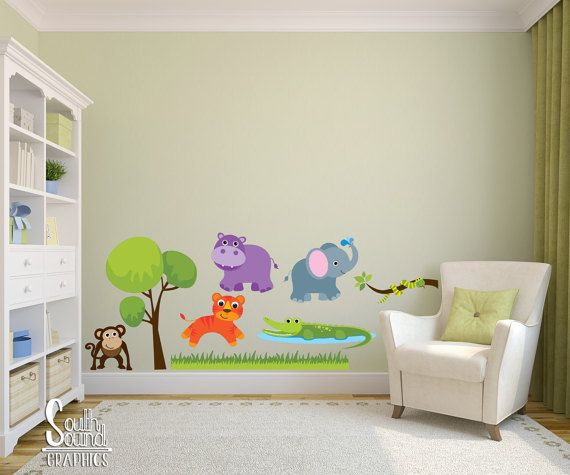 Fabric Wall Decal Set for Nursery and Kids Rooms - Zoo Animals Room Wall Decor - Boy or Girl Wall Graphics - Childrens Jungle Bedroom Decor