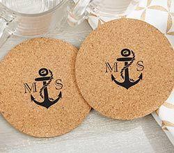 Nautical Wedding Favors Ideas - Personalized Round Cork Coasters - Nautical (Set of 12)