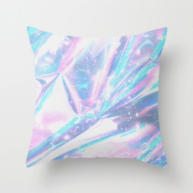 Jazz up your sofa or bed with this holographic throw pillow.